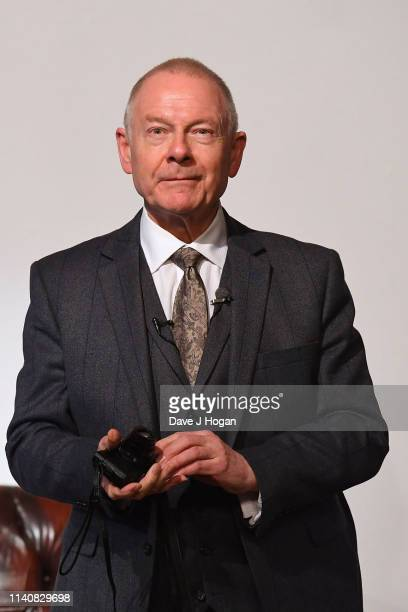 Robert Fripp speaks during the King Crimson 50th Anniversary event at October Gallery on April 06 2019 in London England