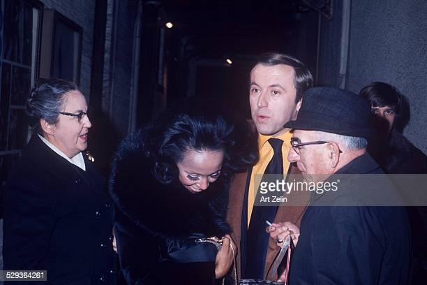 Robert Frost with Diana Ross and unknown group circa 1970 New York