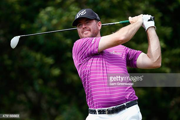 Robert Garrigus hits a tee shot on the 5th hole during the final round of the Valspar Championship at Innisbrook Resort and Golf Club on March 16...