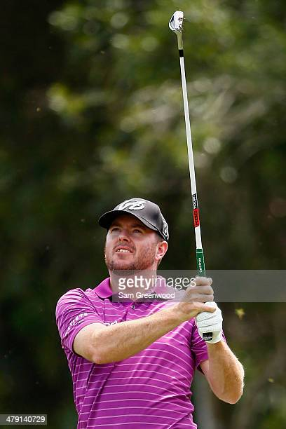 Robert Garrigus plays a shot on the 2nd hole during the final round of the Valspar Championship at Innisbrook Resort and Golf Club on March 16 2014...