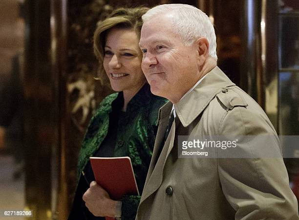 Robert Gates former US secretary of defense right and KT McFarland deputy national security advisor for US Presidentelect Donald Trump walk through...