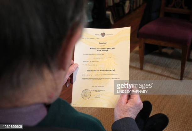 Robert Geoffrey William Anderson, retired British Museum curator and historian of chemistry, holds a decree of Austrian citizenship granted to him,...