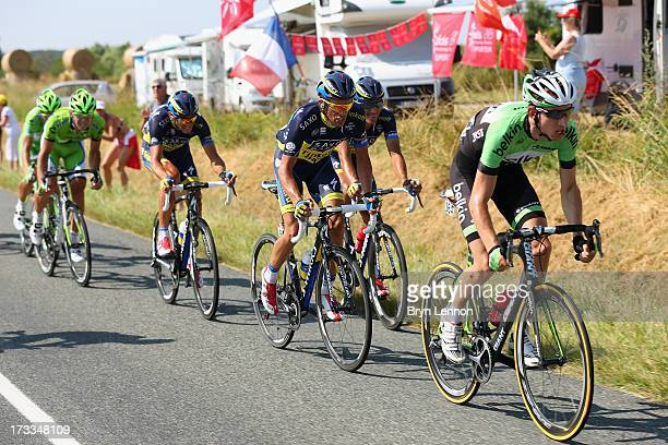 Robert Gesink of the Netherlands and Belkin and Alberto Contador of Spain and Team Saxo-Tinkoff in action during stage thirteen of the 2013 Tour de...