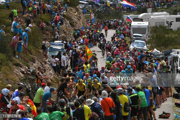 Robert Gesink of The Netherlands and Team Jumbo-Visma / Alejandro Valverde Belmonte of Spain and Movistar Team / Nairo Quintana of Colombia and...