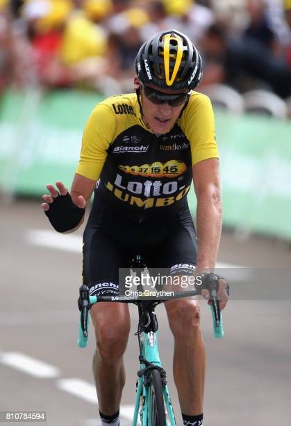 Robert Gesink of The Netherlands and Team Lotto NLJumbo crosses the finish line during stage eight of the 2017 Le Tour de France a 1875km road stage...