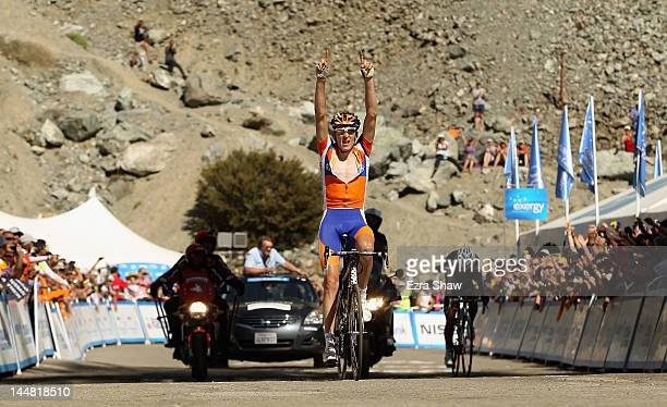 Robert Gesink of the Netherlands riding for Rabobank Cycling Team celebrates after he crosses the finish line in front on Darwin Atapuma of Columbia...