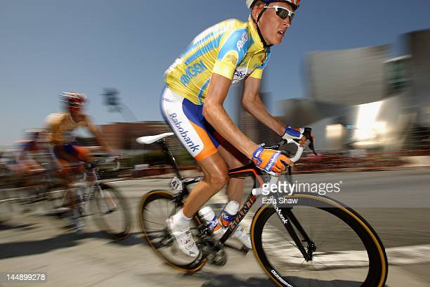 Robert Gesink of the Netherlands riding for Rabobank Cycling Team rides past the Walt Disney Concert Hall during stage eight of the Amgen Tour of...