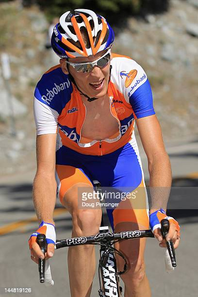 Robert Gesink of The Netherlands riding for Rabobank Cycling Team rides to victory in stage seven as he also earned the overall race leaders jersey...