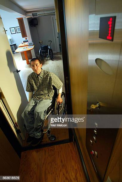 Robert Gil sits in his wheel chair next to entrance to elevator located inside his home in Ventura The elevator donated by Concord Elevator enables...