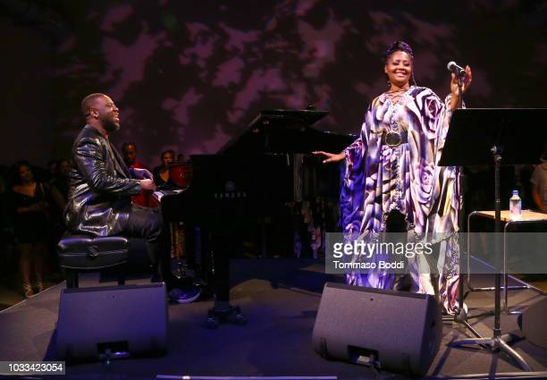 Robert Glasper and Lalah Hathaway perform onstage at the afterparty for Netflix's Quincy Los Angeles Special Screening at NeueHouse Hollywood on...