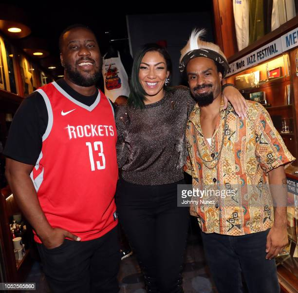Robert Glasper Bridget Kelly and Bilal backstage at Blue Note Jazz Club on October 19 2018 in New York City