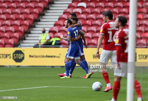 Robert Glatzel Lee Tomlin and Josh Murphy of Cardiff City FC celebrate during the Sky Bet Championship match between Middlesbrough and Cardiff City...
