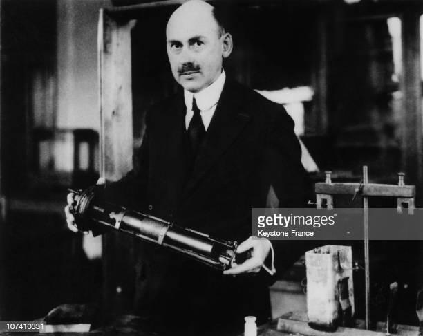Robert Goddard Presenting A Model Of An Interplanetary Rocket