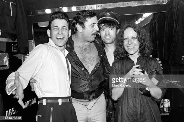 Robert Gordon, Tommy Dean , Chris Spedding and music writer Lisa Robinson backstage at The Ritz in New York City on June 4,1981.