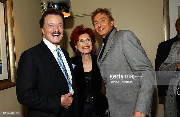 Robert Goulet Vera Goulet and Barry Manilow during Barry Manilow's Music and Passion Backstage at The Las Vegas Hilton in Las Vegas Nevada