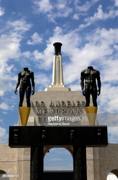 Robert Graham's Olympic 'Gateway arch' and female and male headless and nude statues sits outside the entrance to the Los Angeles Memorial Coliseum...