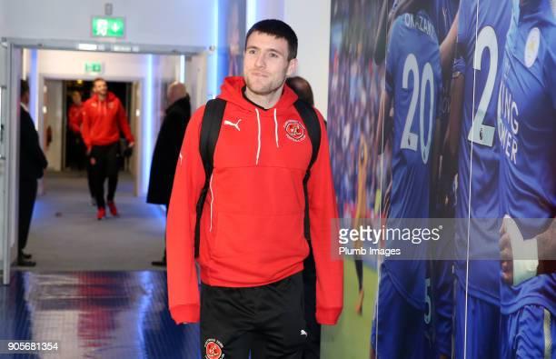 Robert Grant of Fleetwood Town arrives at King Power Stadium ahead of The Emirates FA Cup Third Round Replay between Leicester City and Fleetwood...