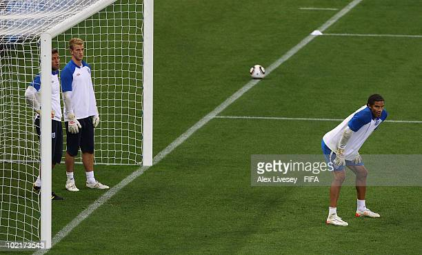 Robert Green Joe Hart and David James of England are put through training drills during a England training session at Green Point Stadium on June 17...