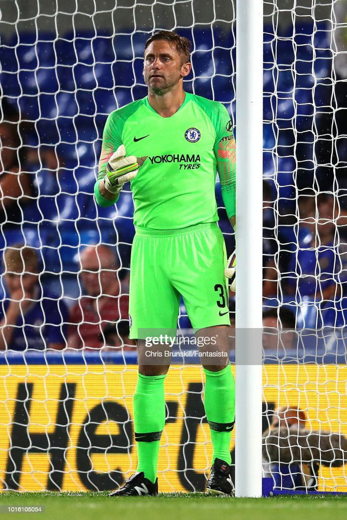 Robert Green of Chelsea in action during the pre-season friendly match between Chelsea and Olympique Lyonnais at Stamford Bridge on August 7, 2018 in London, England.