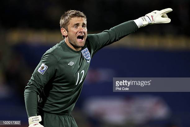 Robert Green of England calls to his team mates during the 2010 FIFA World Cup South Africa Group C match between England and USA at the Royal...
