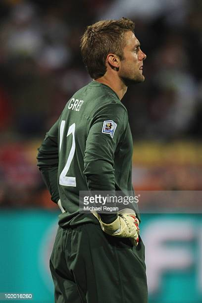 Robert Green of England looks dejected after letting in a goal during the 2010 FIFA World Cup South Africa Group C match between England and USA at...