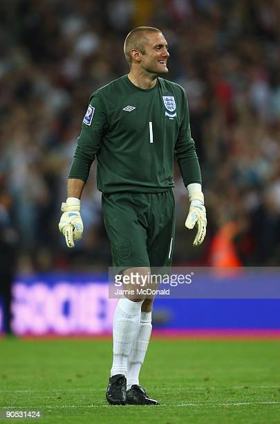 Robert Green of England smiles during the FIFA 2010 World Cup Group 6 Qualifying match between England and Croatia at Wembley Stadium on September 9...