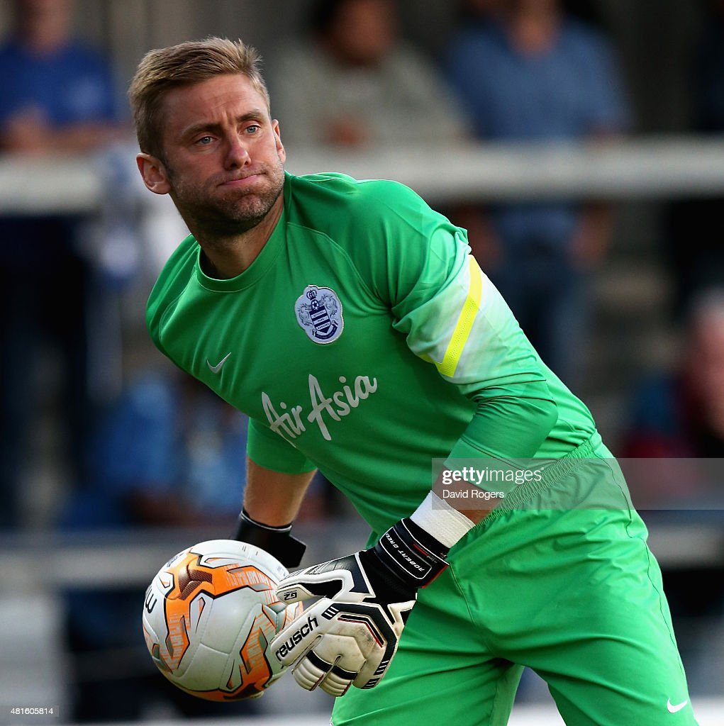 Robert Green of QPR holds onto the ball during the pre season friendly match between Queens Park Rangers and Dundee United at The Hive on July 22, 2015 in Barnet, England.
