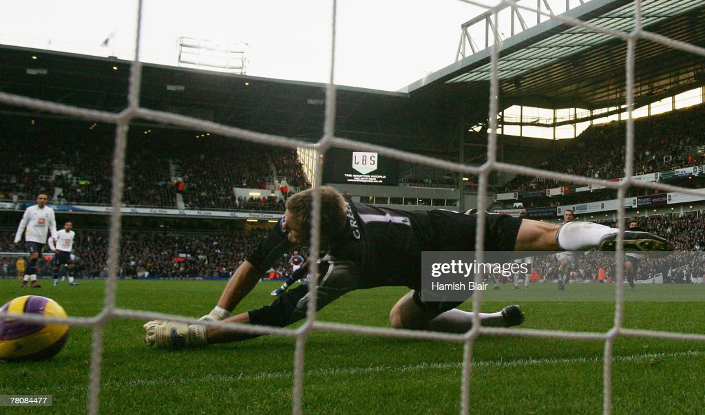 Robert Green of West Ham saves a penalty during the Barclays Premier League match between West Ham United and Tottenham Hotspur at Upton Park on November 25, 2007 in London, England.