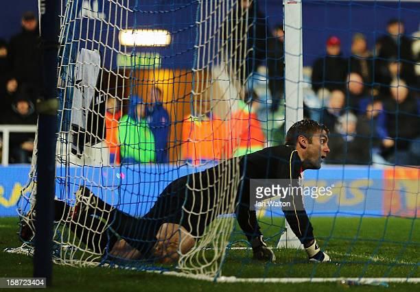 Robert Green the Queens Park Rangers goalkeeper reacts after conceding an own goal during the Barclays Premier League match between Queens Park...