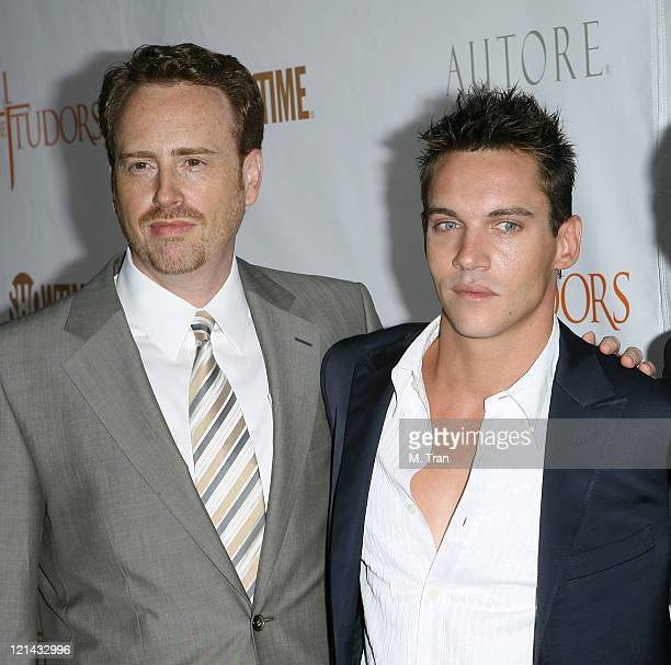 Robert Greenblatt and Jonathan Rhys Meyers during The Tudors Los Angeles Premiere Arrivals at Egyptian Theatre in Hollywood California United States
