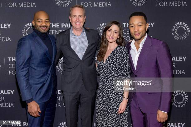 Robert Greenblatt Brandon Victor Dixon Sara Bareilles and John Legend attend The Paley Center for Media presents Behind The Scenes Jesus Christ...