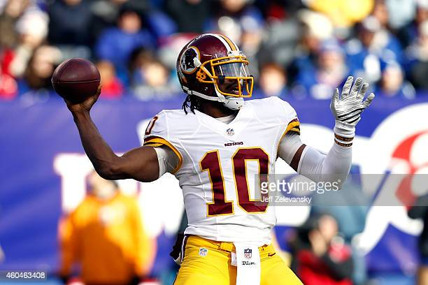 Robert Griffin III of the Washington Redskins throws a pass in the second quarter against the New York Giants during their game at MetLife Stadium on...