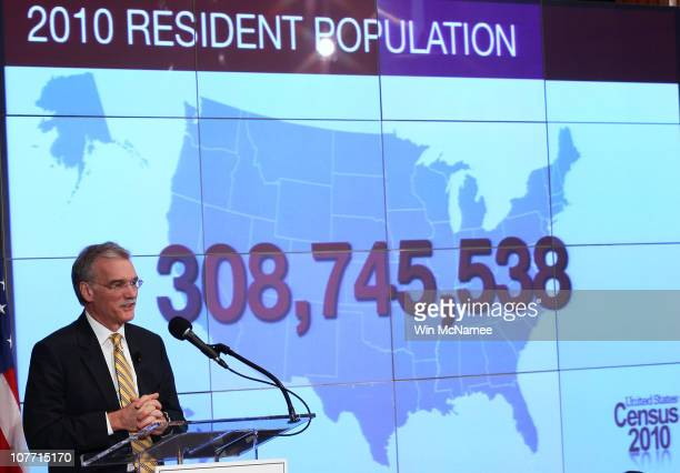 Robert Groves Director of the US Census Bureau discusses the first results of the 2010 Census during a press conference December 21 2010 in...