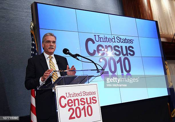 Robert Groves Director of the US Census Bureau releases the first results of the 2010 Census during a press conference December 21 2010 in Washington...