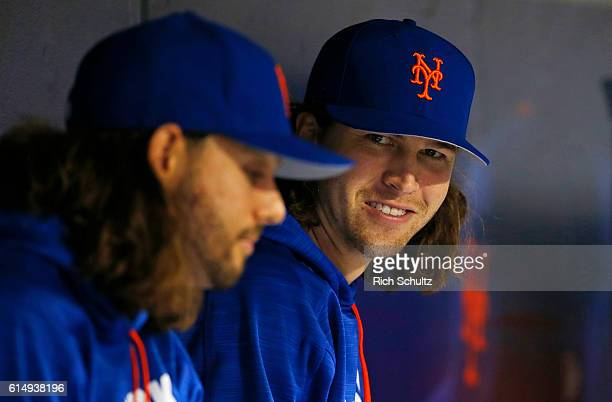Robert Gsellman and Jacob deGrom of the New York Mets watches the action against the Washington Nationals during a game at Citi Field on September 4...