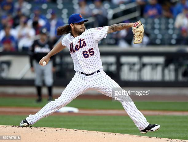 Robert Gsellman of the New York Mets delivers a pitch in the first inning against the Miami Marlins on May 6 2017 at Citi Field in the Flushing...