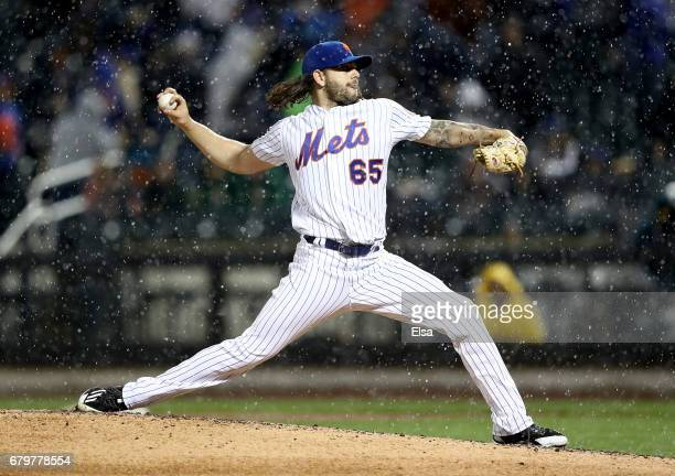 Robert Gsellman of the New York Mets delivers a pitch in the third inning against the Miami Marlins on May 6 2017 at Citi Field in the Flushing...