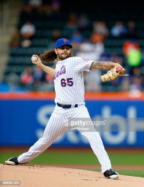 Robert Gsellman of the New York Mets in action against the San Diego Padres at Citi Field on May 24 2017 in the Flushing neighborhood of the Queens...