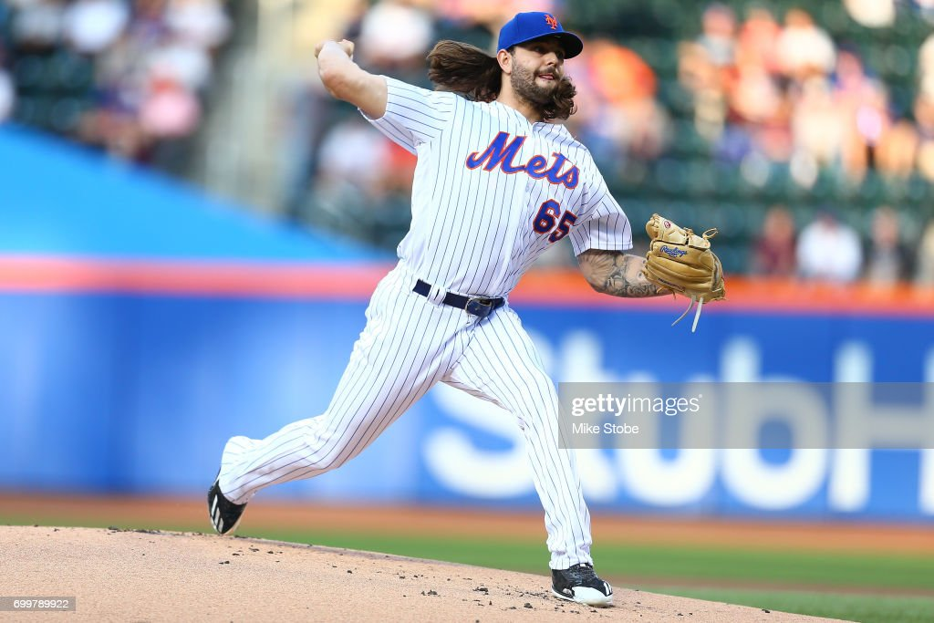 Robert Gsellman #65 of the New York Mets in action against the Washington Nationals at Citi Field on June 15, 2017 in the Flushing neighborhood of the Queens borough of New York City. Washington Nationals defeated the New York Mets 8-3.