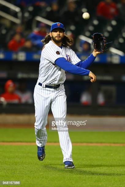 Robert Gsellman of the New York Mets in action against the Washington Nationals at Citi Field on April 17 2018 in the Flushing neighborhood of the...