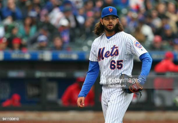 Robert Gsellman of the New York Mets in action during a game against the St Louis Cardinals at Citi Field on March 29 2018 in the Flushing...