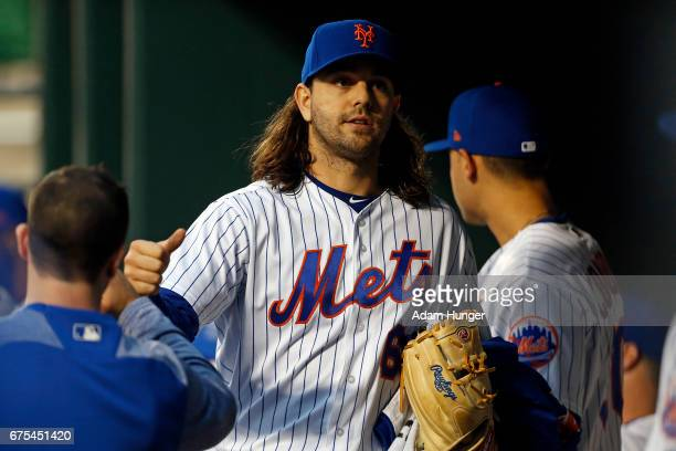 Robert Gsellman of the New York Mets in the dugout prior to a start against the Atlanta Braves at Citi Field on April 26 2017 in the Flushing...