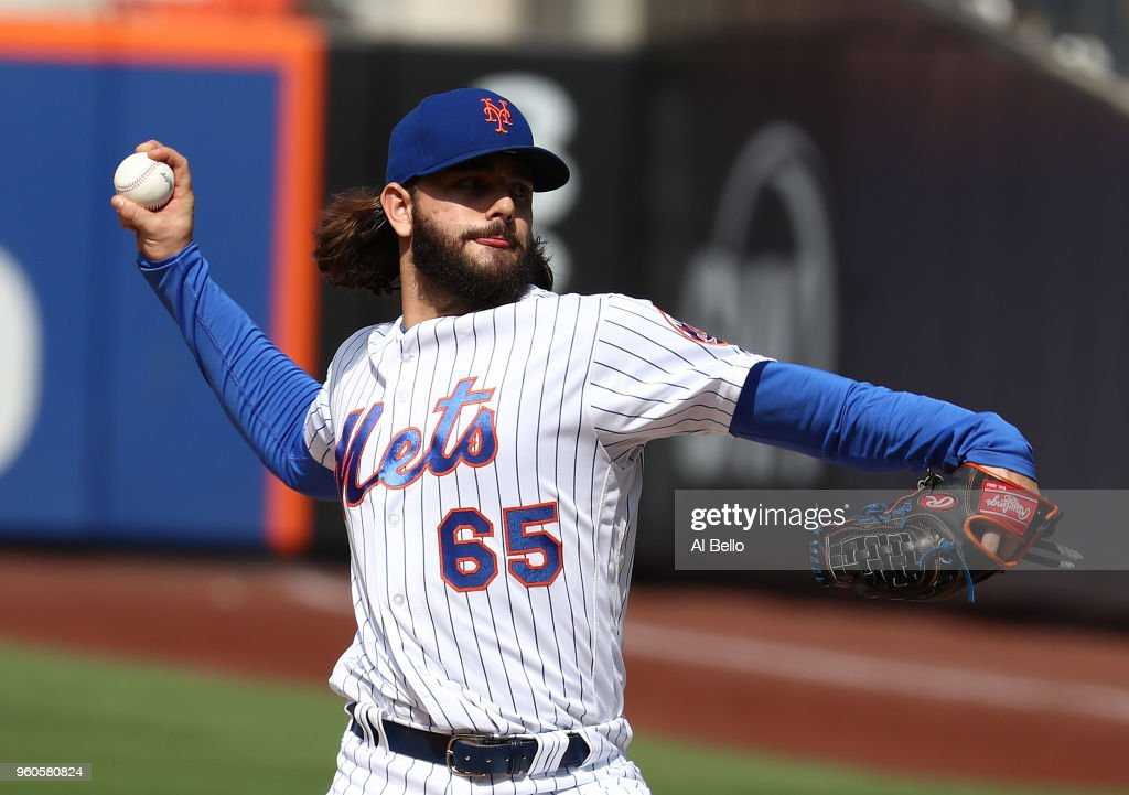 Robert Gsellman #65 of the New York Mets pitches against the Arizona Diamondbacks during their game at Citi Field on May 20, 2018 in New York City.