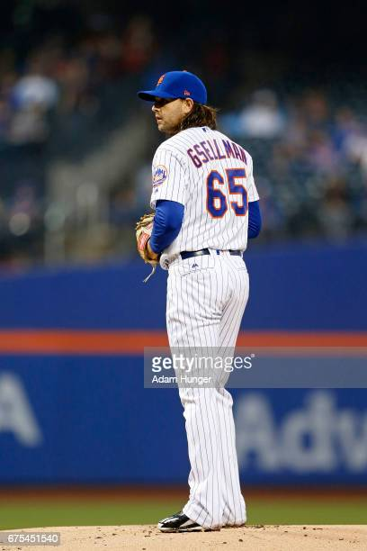 Robert Gsellman of the New York Mets pitches against the Atlanta Braves at Citi Field on April 26 2017 in the Flushing neighborhood of the Queens...