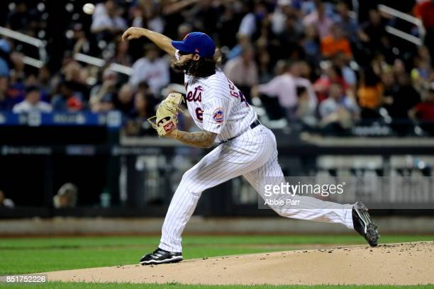 Robert Gsellman of the New York Mets pitches against the Washington Nationals in the first inning on September 22 2017 at Citi Field in the Flushing...
