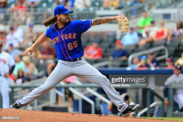 Robert Gsellman of the New York Mets pitches during the second inning against the Atlanta Braves at SunTrust Park on June 10 2017 in Atlanta Georgia