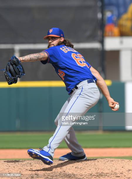 Robert Gsellman of the New York Mets pitches during the Spring Training game against the Detroit Tigers at Publix Field at Joker Marchant Stadium on...