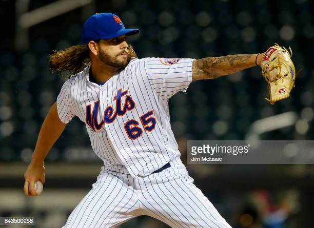 Robert Gsellman of the New York Mets pitches in the first inning against the Philadelphia Phillies at Citi Field on September 6 2017 in the Flushing...