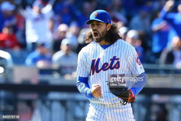 Robert Gsellman of the New York Mets pumps his fist fter striking out Jose Martinez of the St Louis Cardinals in the sixth inning at Citi Field on...