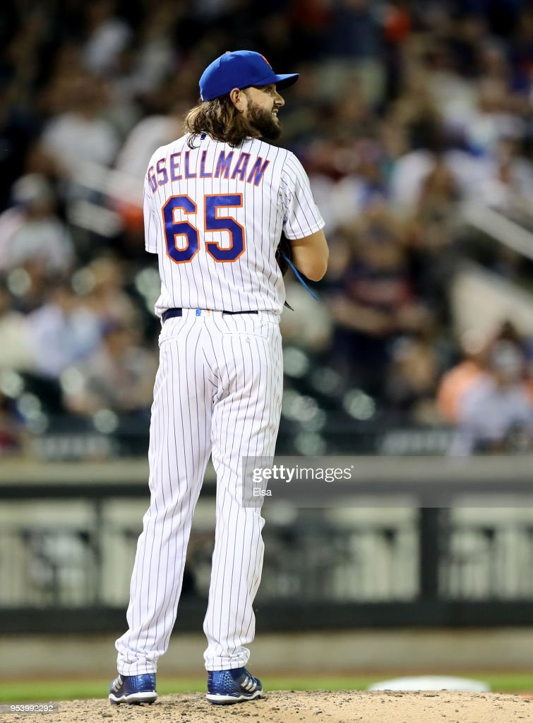 Robert Gsellman #65 of the New York Mets reacts in the eighth inning against the Atlanta Braves on May 2, 2018 at Citi Field in the Flushing neighborhood of the Queens borough of New York City.